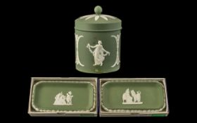 Green Jasper Wedgwood three pieces to include, one candy jar, and two oblong sweet dishes.
