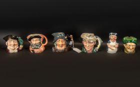 Five Royal Doulton Character Jugs to include The Poacher D6464, Mine Host D6470, Falstaff D6385, Rip