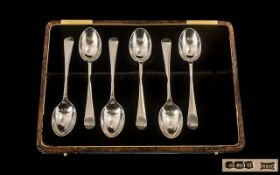 Boxed Set of Six Silver Teaspoons, maker - Walker and Hall,
