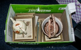Box of Assorted Pottery & Pictures including a large brown pottery basket and matching large tea