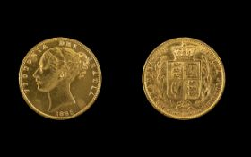 Queen Victoria 22ct Gold Young Head - Shield Back Full Sovereign - Date 1865. London Mint.