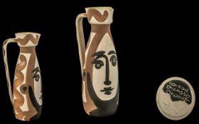 Pablo Picasso (Spain, 1881-1973) Pablo Picasso, a 'Visage' Faience Pitcher, Vallauris,