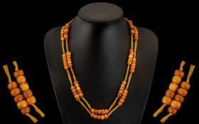 Antique Period Superb Quality Butterscotch Amber ( Natural ) Necklace ( 89 ) Beads In Total.