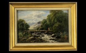 Small Oil Painting on Canvas depicting a river landscape with figures on a bridge; signed with a