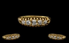 Antique Period 18ct Gold - Good Quality 5 Stone Diamond Set Ring,