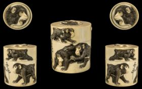 Japanese Meiji Period Carved Ivory Lidded Container,