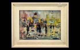 Lawrence Isherwood (1917-1989) Signed Oil Painting on Hardboard Panel, titled verso 'Rain,