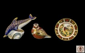 Royal Doulton Hand Painted Paperweights. Comprises 1/ ' Dolphin ; Gold Stopper. Date 1987, 3.