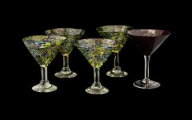 Collection of Decorative Cocktail/Sundae Glasses comprising four matching glasses on raised stems in