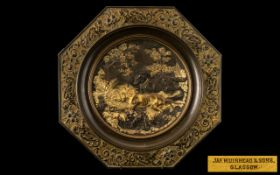 Fine Quality Antique Gilt Cast Bronze Octagonal Tazza, after P J Mene, depicting two hunting dogs in