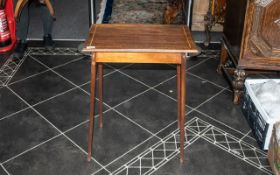 Small Edwardian Mahogany Side Table, Cross Banded Edge, Raised On Square Tapering Legs,