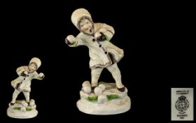 Royal Worcester Hand Painted Porcelain Early Figure ' December ' Months of The Year. RW3458.