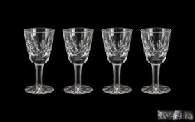 Waterford Superb Set of 4 Cut Crystal Liqueur Glasses. Waterford signed to all glasses, all in