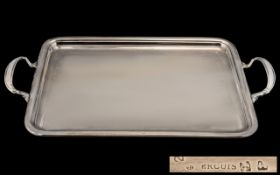 French Ercuis Superb Quality Silver Plated Two Handle Rectangular Shaped Serving Tray. c.