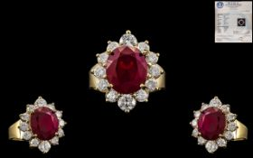 Stunning Exquisite 14ct Yellow Gold Ruby and Diamond Set Ring,