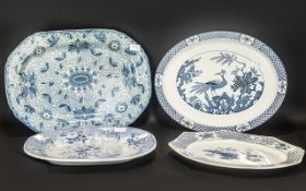 Four Large Staffordshire Pottery Blue & White Meat Plates by Wood & Sons, Johnston Bros.