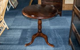 Georgian Mahogany Snap Top Table on Three Shaped Legs, with a turned centre column support,