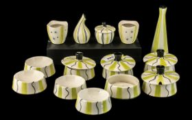 Midwinter 21 Piece Assorted Set Yellow and Black Wavy Lines. Comprising, relish dishes and lids,