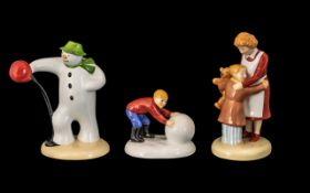 Coalport Hand Painted Ltd Edition Trio of Bone China ' Snowman Figures ' ( 3 ) All with Boxes and
