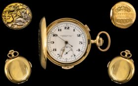 National Watch Co 18ct Gold Full Hunter Quarter Repeater Chronometer Pocket Watch of Wonderful