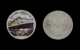 United States of America Liberty Silver Dollar Enamelled - Date 2005, R.M.