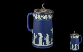 Antique Wedgwood Type Jasper Ware Hot Water Jug with pewter lid; stamped 'England' to base;