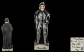 Beswick Scarce Ltd Edition Hand Painted Figure ' Knight of St.John ' Black and Grey. Model No 2181.