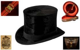 Good Quality Antique Black Moleskin Top Hat in original leather carrying case;