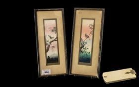 Pair of Small Chinese Watercolour Drawings depicting birds perched on branches; framed and glazed,