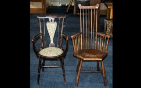 Two Single Arts & Crafts Provincial Spindle Back Chairs, one stamped HS,