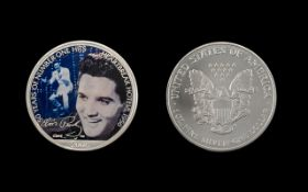 United States of America Liberty Silver Dollar ( Enamelled ) ' Elvis Presley ' 50 Years of Number