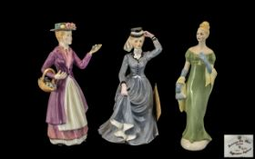 Two Staffordshire Francesca Art China Lady Figurines comprising 'Eliza' the flower seller by Ivan