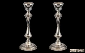 Elizabeth II Pair of Good Quality Sterling Silver Candlesticks of Waisted Form,