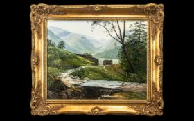 Oil painting of Borrowdale, by A T Blamires. In ornate decorative frame.