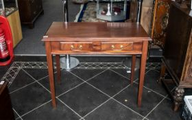 Mahogany Reproduction Side Table, Two Frieze Drawers Raised On Square Tapering Legs,