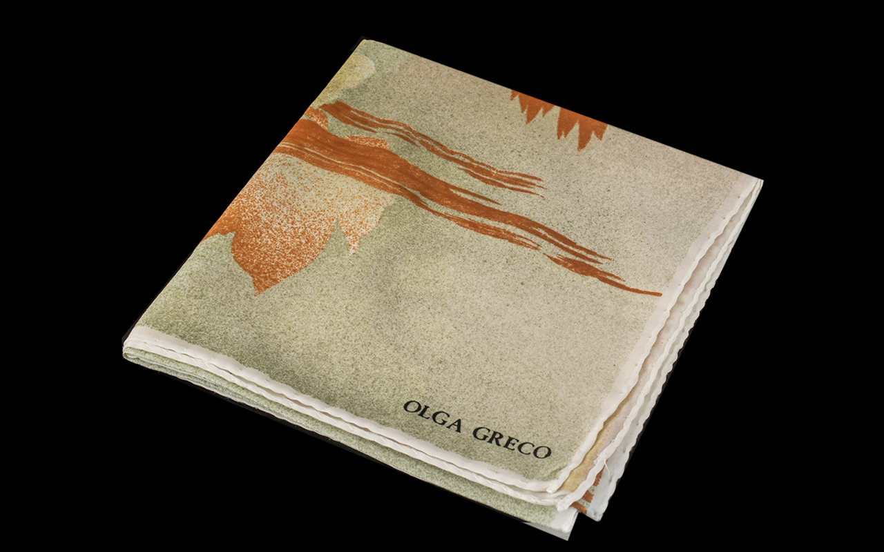 Olga Greco Vintage Silk Scarf, abstract landscape design in grey, beige and tan. 30'' square, made