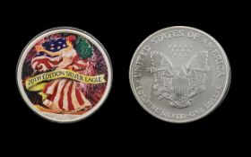United States of America Silver Dollar - Enamelled. 20th Edition Silver Eagle - Date 2005.