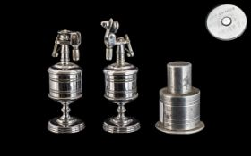 Three Chromed Metal Barrel Shaped Art Deco Petrol Cigarette Lighters, c1920s/30s,