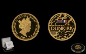 Jubilee Mint - The 80th Anniversary of Dunkirk - Solid 22ct Gold Proof Struck One Pound Coin.