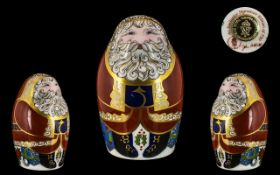 Royal Crown Derby Exclusive Signature Edition of 750 Paperweights Only ' Santa Claus ' Gold Stopper.