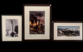 Railway Interest - Three Framed Railway Photographs by P. Laurence, comprising 'Leander Crossing