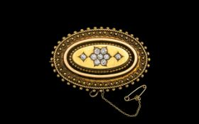 Antique Period Excellent 15ct Gold Oval Shape Diamond Set Brooch/Locket with 15ct gold attached