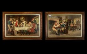 Pair of Large Coloured Prints After John A. Lomax Depicting Tavern Scenes, In Oak Framed and Glazed.