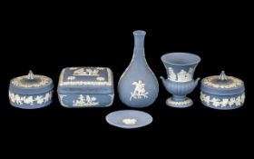 Small Collection of Wedgwood Blue Jasperware Items,