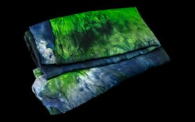 Valezki Hand Dyed Silk Scarf/Wrap. Made in Toronto,Canada, shades of blue and green. Please see
