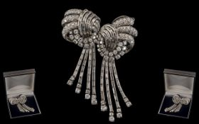 Art Deco Period Stunning Platinum Diamond Set Brooch, with long tassels or drops,