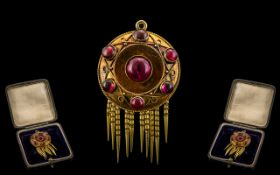 Antique Period Exquisite 15ct Gold and Cabochon Cut Amethyst Pendant Drop with tassels,