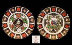 Royal Crown Derby Fine Quality Pair of Ltd and Numbered Edition Imari Pattern Christmas Plates with