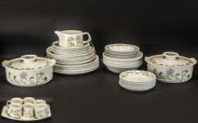 Meakin 'Studio' Dinner/Tea Service in white ground with delicate pink and blue floral edging,