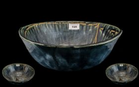 Studio Pottery - Large Blue Glazed Bowl, Incised Mark To Base K.CL. Diameter 13 Inches. Attractive